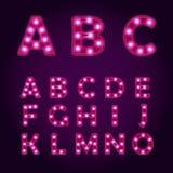 A luz de néon rotula o alfabeto, ilustrações da fonte de vetor, ampola Fotos de Stock Royalty Free