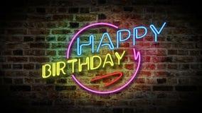 Luz de neón del feliz cumpleaños ilustración del vector