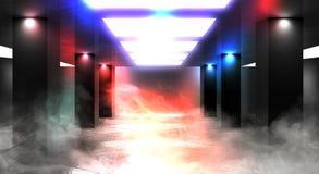 Luz de neón del túnel, paso subterráneo Fondo abstracto con las líneas y el resplandor foto de archivo