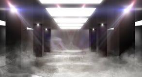 Luz de neón del túnel, paso subterráneo Fondo abstracto con las líneas y el resplandor fotografía de archivo libre de regalías