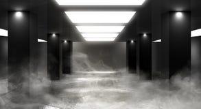 Luz de neón del túnel, paso subterráneo Fondo abstracto con las líneas y el resplandor fotos de archivo