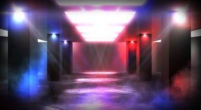 Luz de neón del túnel, paso subterráneo Fondo abstracto con las líneas y el resplandor imagenes de archivo