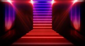 Luz de neón del túnel, paso subterráneo Fondo abstracto con las líneas y el resplandor imagen de archivo