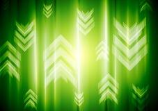 Luz de neón verde con las flechas de la tecnología Fotos de archivo libres de regalías