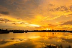 Luz de oro con puesta del sol Fotos de archivo libres de regalías