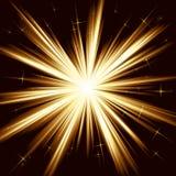 Luz de oro, explosión de la estrella, fuegos artificiales estilizados