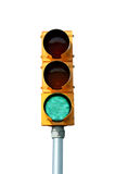 Luz de sinal verde isolada do tráfego Fotografia de Stock Royalty Free