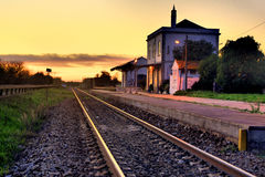 Luz de Tavira. The Luz de Tavira rail station at sunset royalty free stock photos