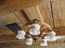 Luz de teto em feixes de madeira Fotos de Stock