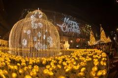 A luz decora bonito na celebração 2017 da árvore de Natal Imagens de Stock