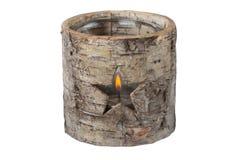 Luz decorativa del té como estrella en tocón de árbol de madera La Navidad T imágenes de archivo libres de regalías