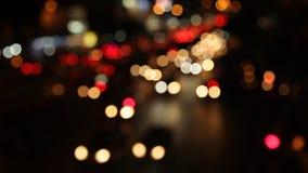 Luz Defocused de Bokeh del tráfico metrajes