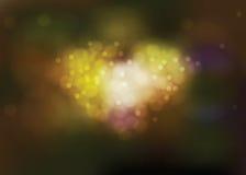 Luz del amor con el ramo de la forma del corazón en temas de la tarjeta del día de San Valentín Fotografía de archivo libre de regalías
