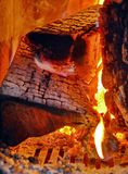 Luz del fuego de madera fotografía de archivo