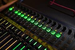 Luz del mezclador audio Fotos de archivo