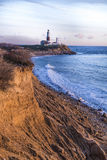 Luz del punto de Montauk, faro, Long Island, Nueva York, Suffolk Foto de archivo