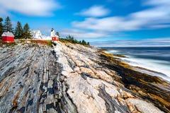 Luz del punto de Pemaquid en Maine foto de archivo