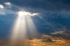 Luz del rayo de Sun a través abajo Fotos de archivo libres de regalías