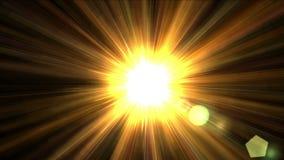 luz del sol de oro del brillo 4k con la línea de la fibra del laser del rayo, energía de luces futura de la ciencia metrajes