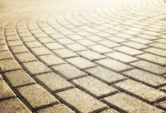Luz del sol en el pavimento pavimentado del guijarro Foto de archivo