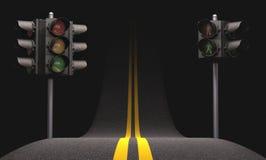Luz del tráfico por carretera Fotos de archivo