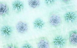 Luz diagonal abstrata - fundo floral azul As plantas em t Fotografia de Stock