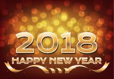 Luz 2018 do bokeh do ouro do ano novo feliz com projeto da fita para o vetor do fundo do festival da contagem regressiva da celeb Imagem de Stock Royalty Free