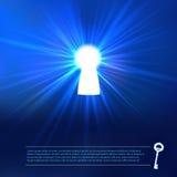 Luz do buraco da fechadura no fundo azul Imagem de Stock Royalty Free