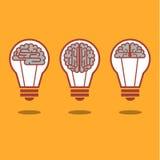 Luz do cérebro e de bulbo Fotografia de Stock Royalty Free