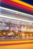 A luz do centro de Varsóvia arrasta a abstração Fotos de Stock