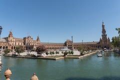 Luz do dia de Plaza De Espana, Espanha de Sevilha imagem de stock