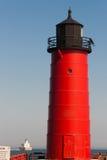 Luz do quebra-mar do Lago Michigan do farol de Milwaukee Pierhead náutica imagens de stock