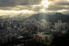 Luz do ` s da natureza no pico de kowloon fotografia de stock
