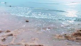 A luz do sol na manhã com mar acena lentamente o espirro na areia e nas rochas no mar com o musgo verde sobre a areia Idílio tran vídeos de arquivo