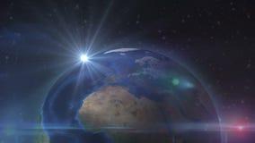 Luz do sol na terra do espaço video estoque