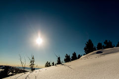 Luz do sol nas montanhas Imagens de Stock