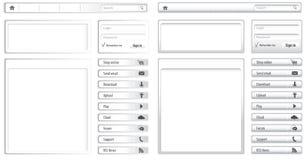Luz do Web site - elementos e módulos cinzentos ilustração stock
