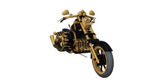 Luz dourada da motocicleta incomum criada dos materiais não padronizados Front View fotos de stock royalty free