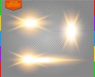 A luz dourada do fulgor ajustou-se no fundo transparente & no x28; transparência no only& adicional x29 do formato; ilustração stock
