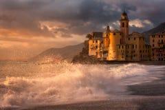 Luz dourada em Camogli, Italia Imagens de Stock