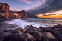 Luz dourada em Camogli, Italia Fotografia de Stock
