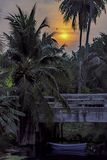 A luz dourada o sol e nuvens no céu com a sombra das árvores de coco e de um barco amarrados em um canal sob uma ponte imagem de stock