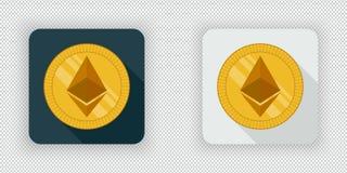 Luz e ícone cripto escuro Ethereum da moeda ilustração do vetor