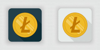 Luz e ícone cripto escuro Litecoin da moeda ilustração royalty free