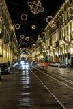 Luz e arte dentro através de Po, Turin Imagens de Stock