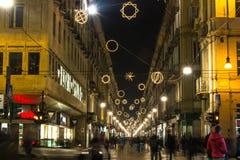 Luz e arte em Garibaldi Street, Turin Imagem de Stock Royalty Free