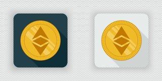 Luz e clássico cripto escuro de Ethereum do ícone da moeda ilustração royalty free