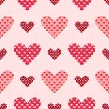 A luz e o coração sem emenda cor-de-rosa escuro vector o teste padrão ilustração stock