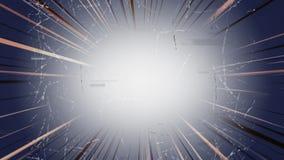 Luz en el centro del vídeo con los tebeos de los rayos alrededor de las tiras del rato que chisporrotean stock de ilustración
