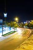 Luz en el citi en la noche Foto de archivo libre de regalías